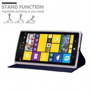Cadorabo Hülle für Nokia Lumia 1520 in CLASSY DUNKEL BLAU - Handyhülle mit Magnetverschluss, Standfunktion und Kartenfach - Case Cover Schutzhülle Etui Tasche Book Klapp Style - Vorschau 4