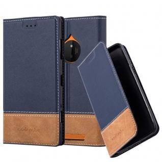 Cadorabo Hülle für Nokia Lumia 830 in BLAU BRAUN - Handyhülle mit Magnetverschluss, Standfunktion und Kartenfach - Case Cover Schutzhülle Etui Tasche Book Klapp Style