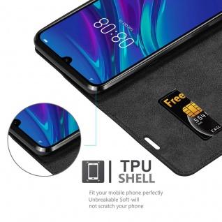 Cadorabo Hülle für Huawei Y6 2019 in NACHT SCHWARZ - Handyhülle mit Magnetverschluss, Standfunktion und Kartenfach - Case Cover Schutzhülle Etui Tasche Book Klapp Style - Vorschau 2