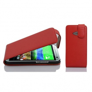 Cadorabo Hülle für HTC ONE M8 MINI (2.Gen.) - Hülle in INFERNO ROT ? Handyhülle aus strukturiertem Kunstleder im Flip Design - Case Cover Schutzhülle Etui Tasche