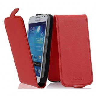 Cadorabo Hülle für Samsung Galaxy S4 MINI - Hülle in CHILI ROT ? Handyhülle aus glattem Kunstleder im Flip Design - Case Cover Schutzhülle Etui Tasche