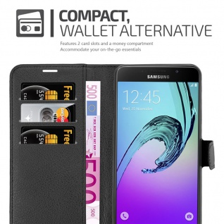 Cadorabo Hülle für Samsung Galaxy A7 2016 in PHANTOM SCHWARZ - Handyhülle mit Magnetverschluss, Standfunktion und Kartenfach - Case Cover Schutzhülle Etui Tasche Book Klapp Style - Vorschau 4
