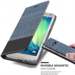 Cadorabo Hülle für Samsung Galaxy A5 2015 in DUNKEL BLAU SCHWARZ - Handyhülle mit Magnetverschluss, Standfunktion und Kartenfach - Case Cover Schutzhülle Etui Tasche Book Klapp Style