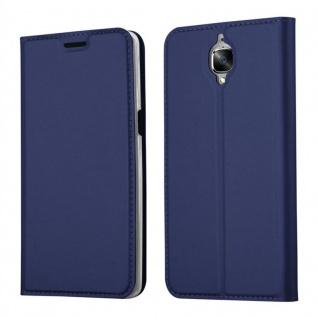 Cadorabo Hülle für OnePlus 3 / 3T in CLASSY DUNKEL BLAU - Handyhülle mit Magnetverschluss, Standfunktion und Kartenfach - Case Cover Schutzhülle Etui Tasche Book Klapp Style