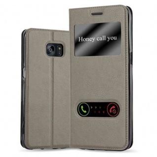 Cadorabo Hülle für Samsung Galaxy S7 EDGE in STEIN BRAUN - Handyhülle mit Magnetverschluss, Standfunktion und 2 Sichtfenstern - Case Cover Schutzhülle Etui Tasche Book Klapp Style