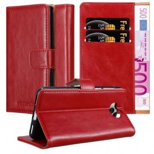 Cadorabo Hülle für Huawei Y6 2017 in WEIN ROT ? Handyhülle mit Magnetverschluss, Standfunktion und Kartenfach ? Case Cover Schutzhülle Etui Tasche Book Klapp Style