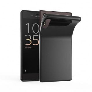Cadorabo Hülle für Sony Xperia XZ / XZs in SCHWARZ - Handyhülle aus flexiblem TPU Silikon - Silikonhülle Schutzhülle Ultra Slim Soft Back Cover Case Bumper