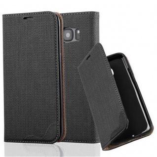 Cadorabo Hülle für Samsung Galaxy S7 EDGE - Hülle in EBENHOLZ SCHWARZ ? Handyhülle in Bast-Optik mit Kartenfach und Standfunktion - Case Cover Schutzhülle Etui Tasche Book Klapp Style