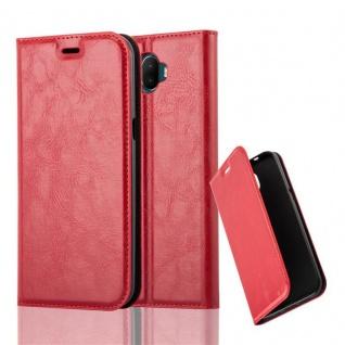 Cadorabo Hülle für WIKO WIM in APFEL ROT - Handyhülle mit Magnetverschluss, Standfunktion und Kartenfach - Case Cover Schutzhülle Etui Tasche Book Klapp Style