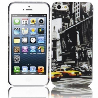 Cadorabo - Hard Cover für Apple iPhone 5 / iPhone 5S / iPhone SE - Case Cover Schutzhülle Bumper im Design: NEW YORK CAB