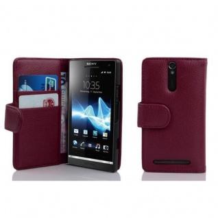 Cadorabo Hülle für Sony Xperia S in BORDEAUX LILA - Handyhülle aus strukturiertem Kunstleder mit Standfunktion und Kartenfach - Case Cover Schutzhülle Etui Tasche Book Klapp Style