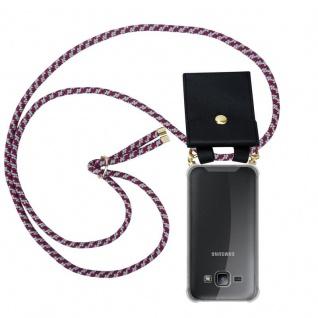 Cadorabo Handy Kette für Samsung Galaxy J1 2015 in ROT WEISS - Silikon Necklace Umhänge Hülle mit Gold Ringen, Kordel Band Schnur und abnehmbarem Etui ? Schutzhülle