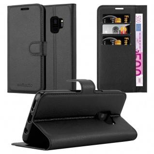 Cadorabo Hülle für Samsung Galaxy S9 in PHANTOM SCHWARZ - Handyhülle mit Magnetverschluss, Standfunktion und Kartenfach - Case Cover Schutzhülle Etui Tasche Book Klapp Style