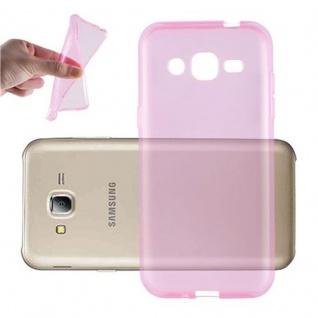 Cadorabo Hülle für Samsung Galaxy J2 2015 in TRANSPARENT PINK - Handyhülle aus flexiblem TPU Silikon - Silikonhülle Schutzhülle Ultra Slim Soft Back Cover Case Bumper