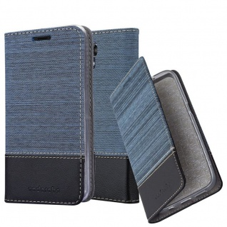 Cadorabo Hülle für LG X SCREEN in DUNKEL BLAU SCHWARZ - Handyhülle mit Magnetverschluss, Standfunktion und Kartenfach - Case Cover Schutzhülle Etui Tasche Book Klapp Style