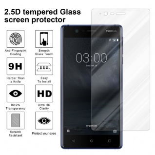 Cadorabo Panzer Folie für Nokia 3.1 2018 - Schutzfolie in KRISTALL KLAR - Gehärtetes (Tempered) Display-Schutzglas in 9H Härte mit 3D Touch Kompatibilität - Vorschau 4