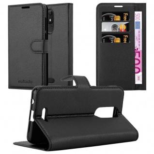 Cadorabo Hülle für WIKO VIEW LITE in PHANTOM SCHWARZ Handyhülle mit Magnetverschluss, Standfunktion und Kartenfach Case Cover Schutzhülle Etui Tasche Book Klapp Style