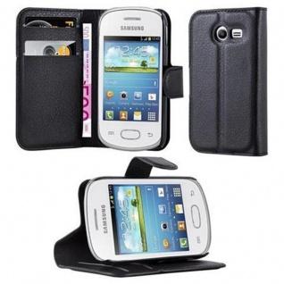 Cadorabo Hülle für Samsung Galaxy POCKET 2 in PHANTOM SCHWARZ - Handyhülle mit Magnetverschluss, Standfunktion und Kartenfach - Case Cover Schutzhülle Etui Tasche Book Klapp Style