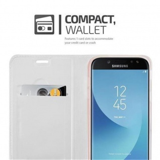 Cadorabo Hülle für Samsung Galaxy J3 2017 in CLASSY SILBER - Handyhülle mit Magnetverschluss, Standfunktion und Kartenfach - Case Cover Schutzhülle Etui Tasche Book Klapp Style - Vorschau 3