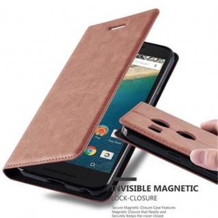 Cadorabo Hülle für LG NEXUS 5X in CAPPUCCINO BRAUN - Handyhülle mit Magnetverschluss, Standfunktion und Kartenfach - Case Cover Schutzhülle Etui Tasche Book Klapp Style