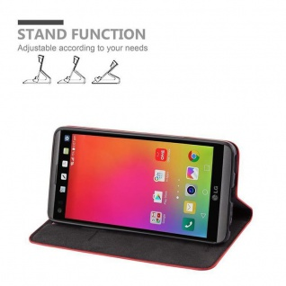 Cadorabo Hülle für LG V20 in APFEL ROT Handyhülle mit Magnetverschluss, Standfunktion und Kartenfach Case Cover Schutzhülle Etui Tasche Book Klapp Style - Vorschau 3