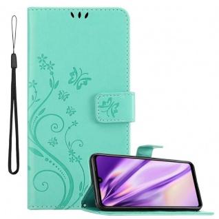 Cadorabo Hülle für Xiaomi Redmi Note 7 in FLORAL TÜRKIS Handyhülle im Blumen Design mit Magnetverschluss, Standfunktion und 3 Kartenfächern Case Cover Schutzhülle Etui Tasche Book Klapp Style