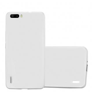 Cadorabo Hülle für Honor 6 PLUS in METALLIC SILBER - Handyhülle aus flexiblem TPU Silikon - Silikonhülle Schutzhülle Ultra Slim Soft Back Cover Case Bumper