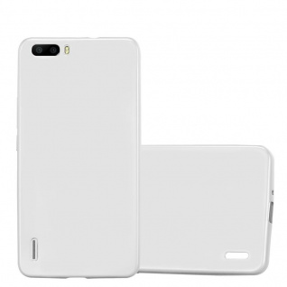 Cadorabo Hülle für Honor 6 PLUS in METALLIC SILBER Handyhülle aus flexiblem TPU Silikon Silikonhülle Schutzhülle Ultra Slim Soft Back Cover Case Bumper