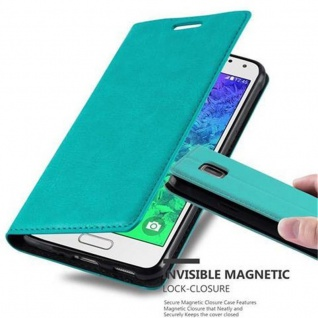 Cadorabo Hülle für Samsung Galaxy ALPHA in PETROL TÜRKIS - Handyhülle mit Magnetverschluss, Standfunktion und Kartenfach - Case Cover Schutzhülle Etui Tasche Book Klapp Style