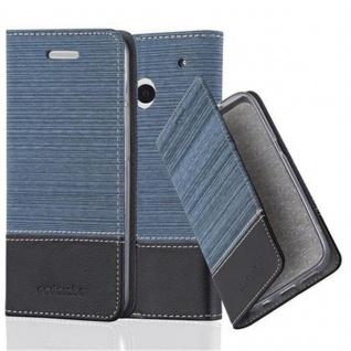 Cadorabo Hülle für HTC ONE M7 (1. Gen.) - Hülle in DUNKEL BLAU SCHWARZ ? Handyhülle mit Standfunktion und Kartenfach im Stoff Design - Case Cover Schutzhülle Etui Tasche Book