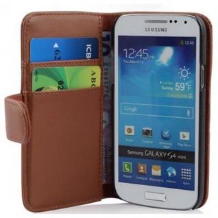 Cadorabo Hülle für Samsung Galaxy S4 MINI - Hülle in KAKAO BRAUN ? Handyhülle mit Kartenfach aus glattem Kunstleder - Case Cover Schutzhülle Etui Tasche Book Klapp Style