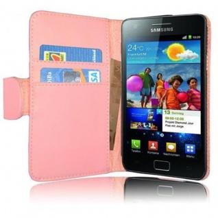 Cadorabo Hülle für Samsung Galaxy S2 / S2 PLUS in ANTIK ROSA - Handyhülle aus glattem Kunstleder mit Standfunktion und Kartenfach - Case Cover Schutzhülle Etui Tasche Book Klapp Style