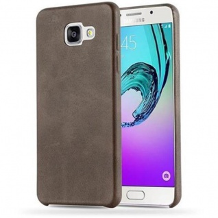 Cadorabo Hülle für Samsung Galaxy A3 2016 (6) - Hülle in VINTAGE BRAUN ? Hardcase Handyhülle aus Kunstleder - Schutzhülle Bumper Back Case Cover