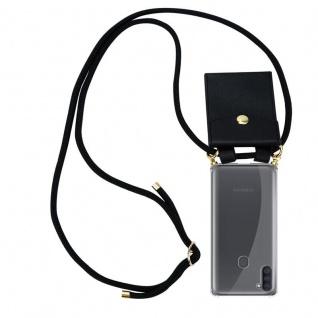 Cadorabo Handy Kette für Samsung Galaxy A11 in SCHWARZ Silikon Necklace Umhänge Hülle mit Gold Ringen, Kordel Band Schnur und abnehmbarem Etui Schutzhülle