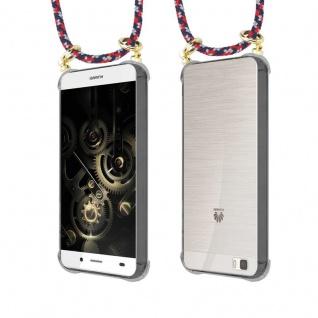 Cadorabo Handy Kette für Huawei P8 LITE 2015 in ROT BLAU WEISS - Silikon Necklace Umhänge Hülle mit Gold Ringen, Kordel Band Schnur und abnehmbarem Etui ? Schutzhülle - Vorschau 5