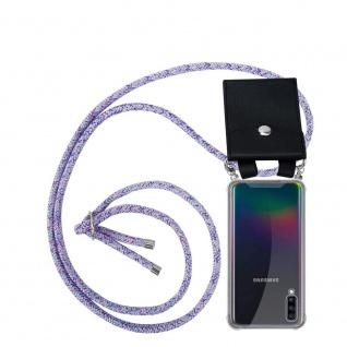 Cadorabo Handy Kette für Samsung Galaxy A70 in UNICORN Silikon Necklace Umhänge Hülle mit Silber Ringen, Kordel Band Schnur und abnehmbarem Etui Schutzhülle