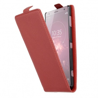Cadorabo Hülle für Sony Xperia XZ2 in INFERNO ROT - Handyhülle im Flip Design aus strukturiertem Kunstleder - Case Cover Schutzhülle Etui Tasche Book Klapp Style