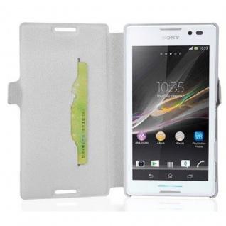 Cadorabo Hülle für Sony Xperia C - Hülle in ICY WEIß ? Handyhülle mit Standfunktion und Kartenfach im Ultra Slim Design - Case Cover Schutzhülle Etui Tasche Book