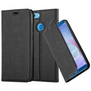 Cadorabo Hülle für Honor 9 LITE in NACHT SCHWARZ Handyhülle mit Magnetverschluss, Standfunktion und Kartenfach Case Cover Schutzhülle Etui Tasche Book Klapp Style