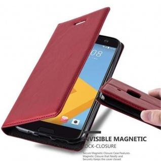 Cadorabo Hülle für HTC 10 (One M10) in APFEL ROT - Handyhülle mit Magnetverschluss, Standfunktion und Kartenfach - Case Cover Schutzhülle Etui Tasche Book Klapp Style