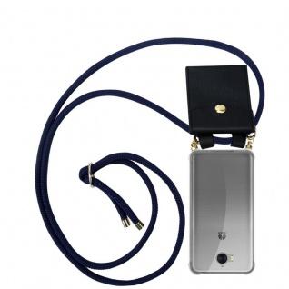 Cadorabo Handy Kette für Huawei Y6 2017 in TIEF BLAU - Silikon Necklace Umhänge Hülle mit Gold Ringen, Kordel Band Schnur und abnehmbarem Etui ? Schutzhülle
