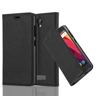 Cadorabo Hülle für ZTE BLADE L5 in NACHT SCHWARZ - Handyhülle mit Magnetverschluss, Standfunktion und Kartenfach - Case Cover Schutzhülle Etui Tasche Book Klapp Style