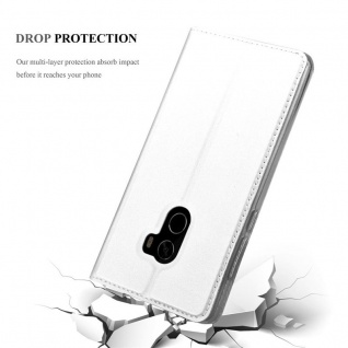 Cadorabo Hülle für Xiaomi Mi MIX 2 in CLASSY SILBER - Handyhülle mit Magnetverschluss, Standfunktion und Kartenfach - Case Cover Schutzhülle Etui Tasche Book Klapp Style - Vorschau 5