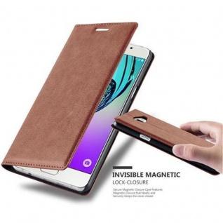 Cadorabo Hülle für Samsung Galaxy A5 2016 in CAPPUCCINO BRAUN - Handyhülle mit Magnetverschluss, Standfunktion und Kartenfach - Case Cover Schutzhülle Etui Tasche Book Klapp Style