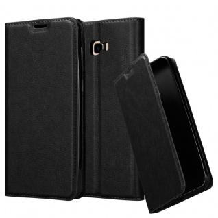 Cadorabo Hülle für Samsung Galaxy J4 PLUS in NACHT SCHWARZ - Handyhülle mit Magnetverschluss, Standfunktion und Kartenfach - Case Cover Schutzhülle Etui Tasche Book Klapp Style