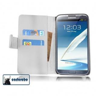 Cadorabo Hülle für Samsung Galaxy NOTE 2 in POLAR WEIß Handyhülle aus glattem Kunstleder mit Standfunktion und Kartenfach Case Cover Schutzhülle Etui Tasche Book Klapp Style
