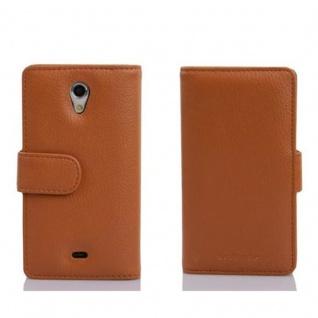 Cadorabo Hülle für Sony Xperia T in COGNAC BRAUN - Handyhülle aus strukturiertem Kunstleder mit Standfunktion und Kartenfach - Case Cover Schutzhülle Etui Tasche Book Klapp Style - Vorschau 2