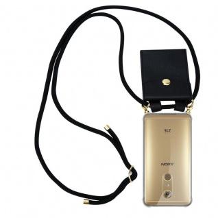 Cadorabo Handy Kette für ZTE Axon 7 in SCHWARZ - Silikon Necklace Umhänge Hülle mit Gold Ringen, Kordel Band Schnur und abnehmbarem Etui ? Schutzhülle