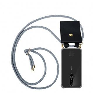 Cadorabo Handy Kette für Nokia 3.1 Plus in SILBER GRAU Silikon Necklace Umhänge Hülle mit Gold Ringen, Kordel Band Schnur und abnehmbarem Etui Schutzhülle