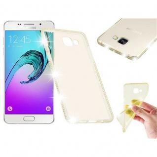 Cadorabo Hülle für Samsung Galaxy A5 2016 - Hülle in TRANSPARENT GOLD ? Handyhülle aus TPU Silikon im Strass Design - Silikonhülle Schutzhülle Ultra Slim Soft Back Cover Case Bumper
